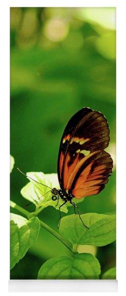 Orange Butterfly On Leaf Yoga Mat