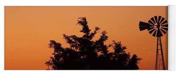 Orange Dawn With Windmill Yoga Mat