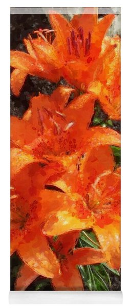 Orange Day Lilies Painted Yoga Mat