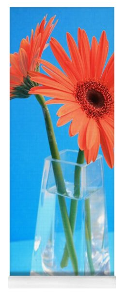 Orange Gerberas In A Vase - Aqua Background Yoga Mat