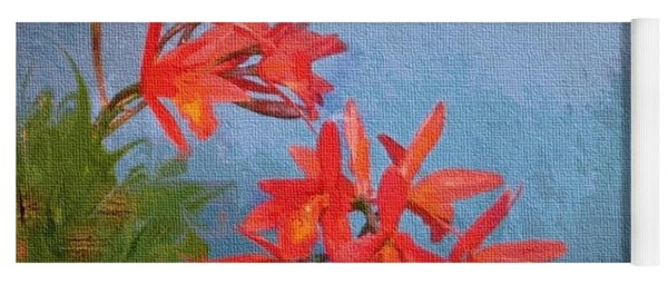 Orange Orchids Yoga Mat