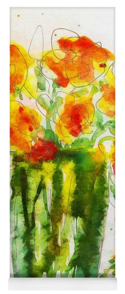 Yoga Mat featuring the painting Orange Splendor by Claire Bull