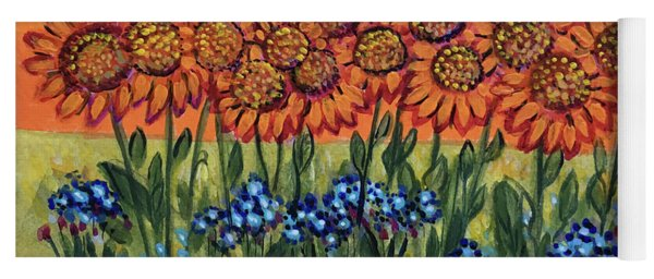 Orange Sunset Flowers Yoga Mat