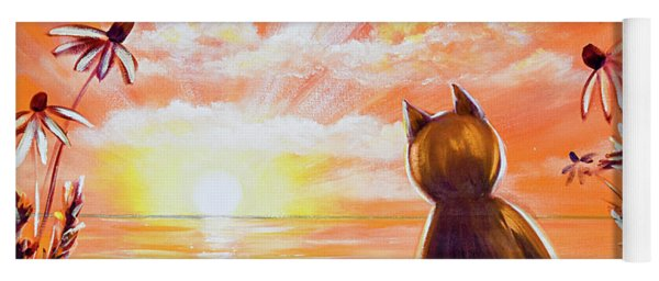 Orange Sunset With A Cat Yoga Mat
