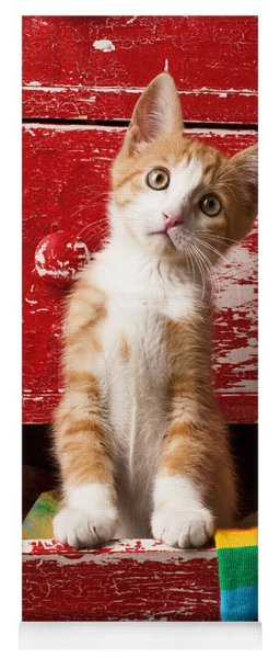 Orange Tabby Kitten In Red Drawer  Yoga Mat