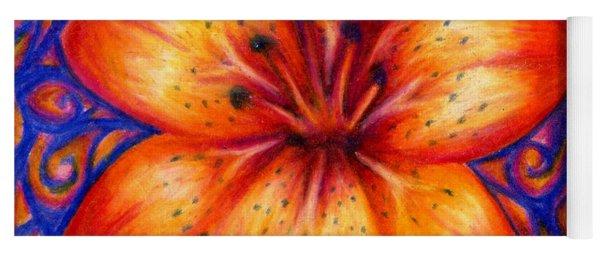 Orange Tiger Lily Drawing Yoga Mat