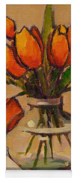 Orange Tulips Yoga Mat