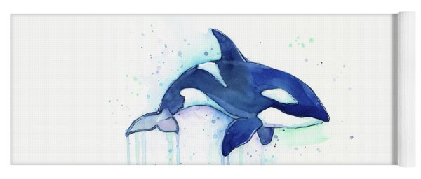 Orca Whale Watercolor Killer Whale Facing Right Yoga Mat