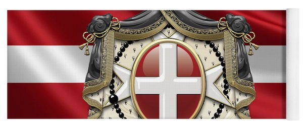 Order Of Malta Coat Of Arms Over Flag Yoga Mat