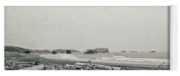 Oregon Beach With Driftwood Yoga Mat