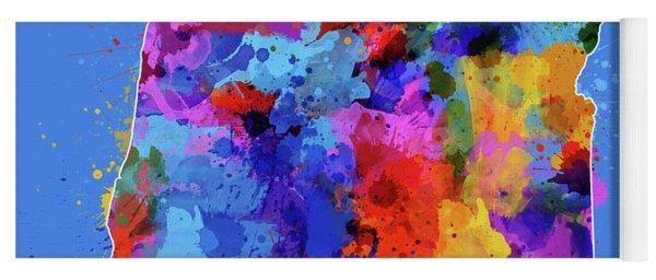 Oregon Map Color Splatter 3 Yoga Mat