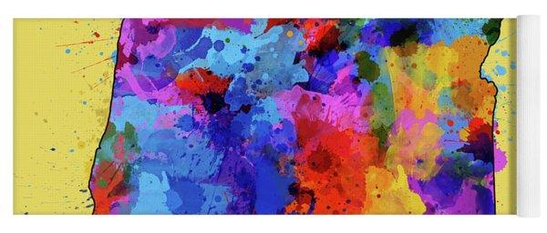 Oregon Map Color Splatter 4 Yoga Mat