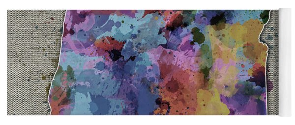 Oregon Map Color Splatter 5 Yoga Mat