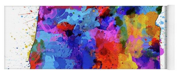 Oregon Map Color Splatter Yoga Mat