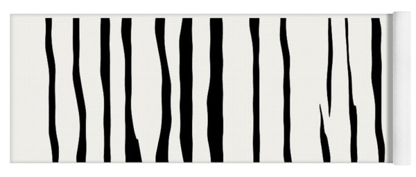 Organic No 12 Black And White Line Abstract Yoga Mat