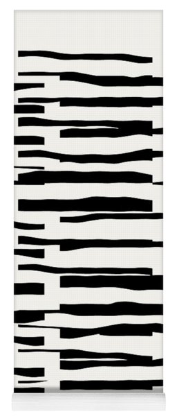 Organic No 13 Black And White Line Abstract Yoga Mat