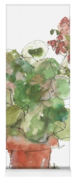 Original Buspaintings Geranium Watercolor Painting By Kathleen Mcelwaine Yoga Mat