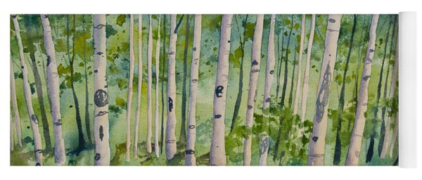 Yoga Mat featuring the painting Original Watercolor - Summer Aspen Forest by Cascade Colors
