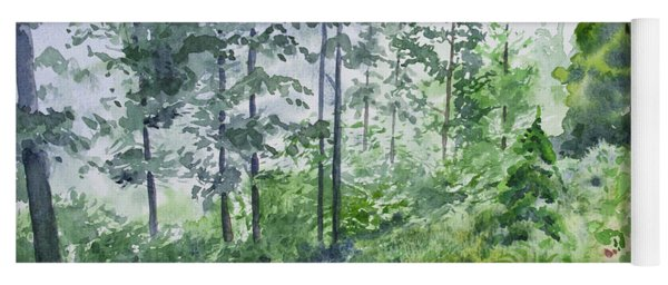 Yoga Mat featuring the painting Original Watercolor - Summer Pine Forest by Cascade Colors