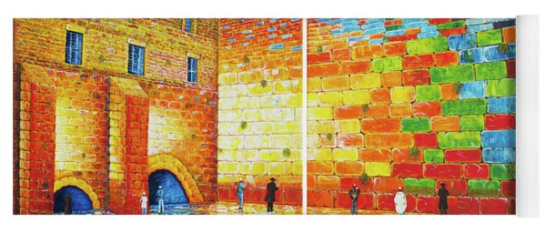 Yoga Mat featuring the painting Original Western Wall Jerusalem Wailing Wall Acrylic 2 Panels by Georgeta Blanaru