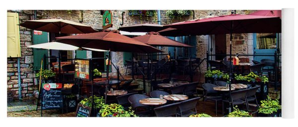 Outdoor French Cafe In Old Quebec City Yoga Mat