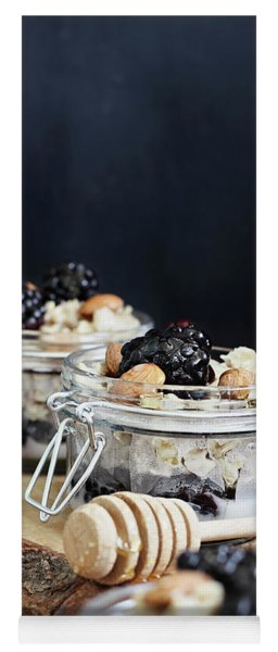 Overnight Oatmeal With Blackberries And Honey Yoga Mat