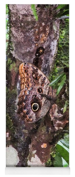 Owl Butterfly On A Tree Yoga Mat