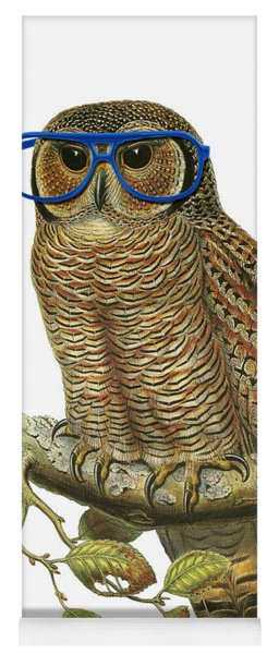 Owl Sitting On A Branch With Blue Glasses Yoga Mat