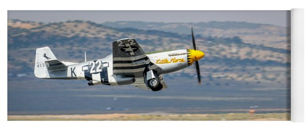Yoga Mat featuring the photograph P51 Mustang Little Horse Gear Coming Up Friday At Reno Air Races 16x9 Aspect Signature Edition by John King