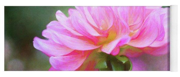 Painted Pink Dahlia Yoga Mat
