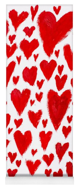 Painted Red Hearts Yoga Mat