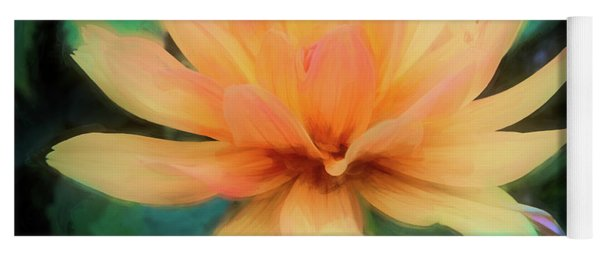 Painted Tangerine Dahlia Yoga Mat