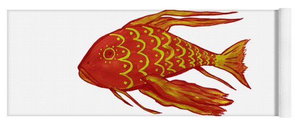 Painting Red Fish Yoga Mat