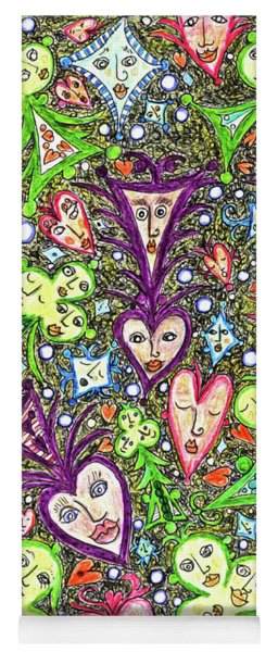 Painting With Playing Card Symbols That Have Faces Yoga Mat