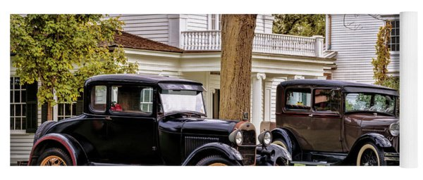 Yoga Mat featuring the photograph Pair Of Ford Model A  by Susan Rissi Tregoning