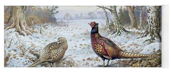 Pair Of Pheasants With A Wren Yoga Mat