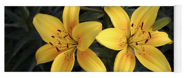 Pair Of Yellow Lilies Yoga Mat
