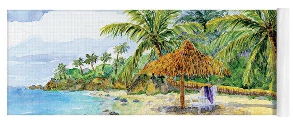 Palappa N Adirondack Chairs On A Caribbean Beach Yoga Mat