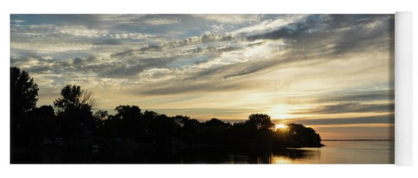 Pale Gold Sunrays - A Cloudy Sunrise With Two Ducks Yoga Mat