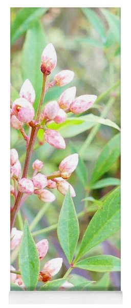 Pale Powder Pink Plant Yoga Mat