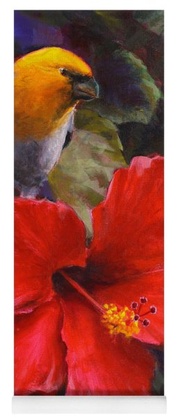 Palila And Hibiscus - Hawaiian Painting Yoga Mat