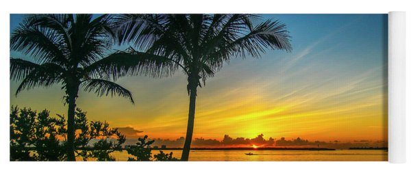 Palm Tree And Boat Sunrise Yoga Mat