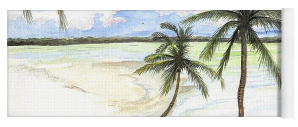 Yoga Mat featuring the painting Palm Trees On The Beach by Darren Cannell