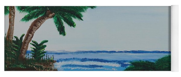 Yoga Mat featuring the painting Palms At The Beach by Jimmy Clark