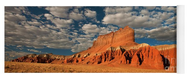 Panorama Clouds Over Wild Horse Butte Goblin Valley Utah Yoga Mat
