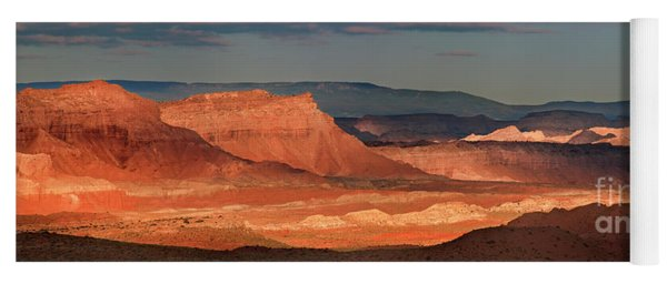 Yoga Mat featuring the photograph Panorama Dawn Light On The San Rafael Swell Utah by Dave Welling