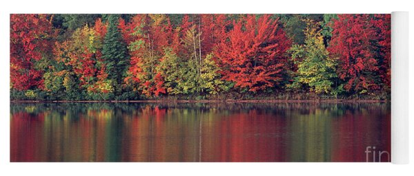 Yoga Mat featuring the photograph Panorama Fall Color Moccasin Lake Upper Peninsula Mi by Dave Welling