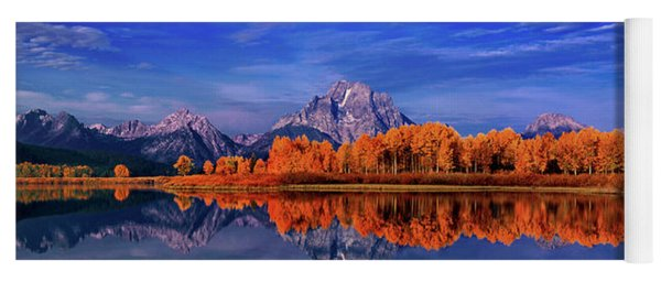 Panorama Fall Color Oxbow Bend Snake River Grand Tetons Yoga Mat