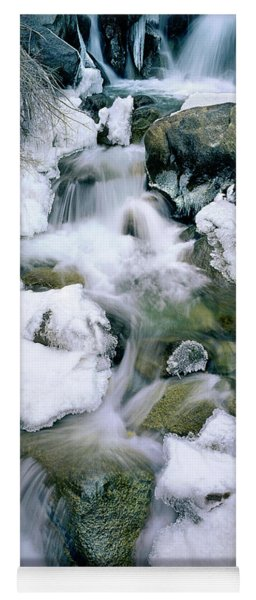 Yoga Mat featuring the photograph Panorama First Falls In Winter Eastern Sierras California by Dave Welling