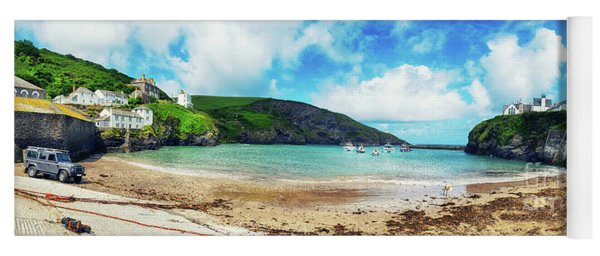 panorama of harbor  Port Isaac, Cornwall Yoga Mat